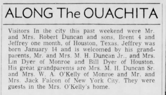 the duncans visit - ALONG The OUACHITA Visitors In the city (his...