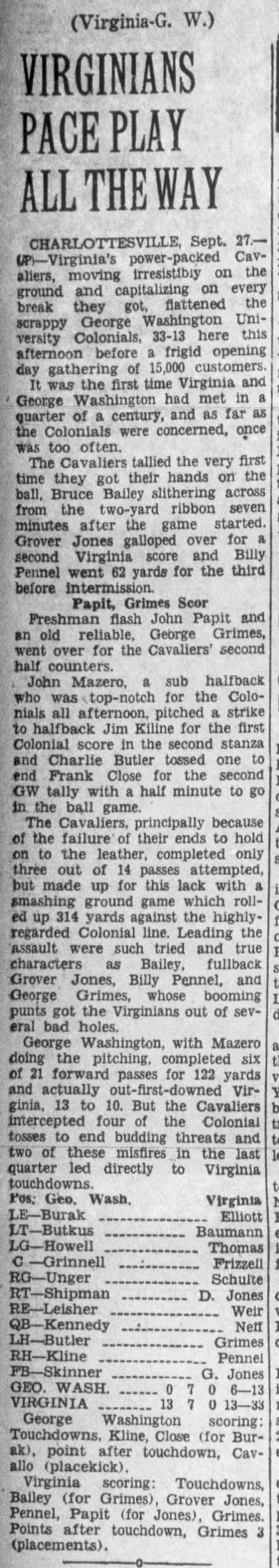 Cavaliers Roll Up 33-13 Score Over George Washington -