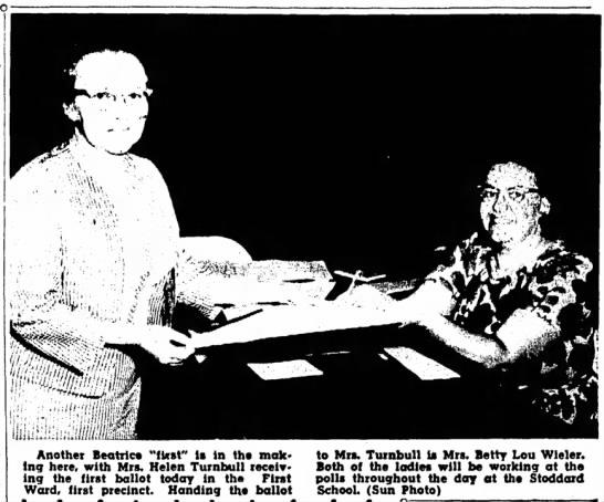 Helen Turnbull, Mrs. David E Turnbull Sr at the Ballot Box in 1964 -