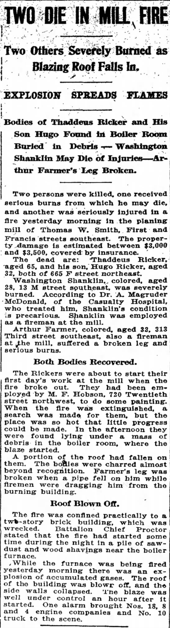 Two Die in Mill Fire