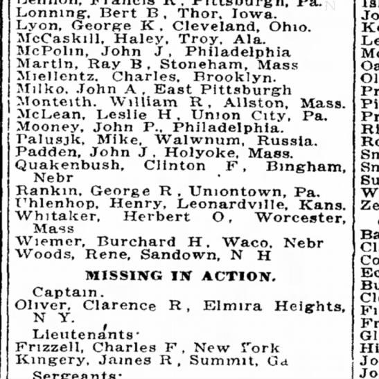 List of KIA WWI 20 Aug 1918 -