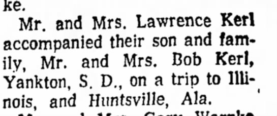 Kerl, Lawrence travel 11 Nov 1964 Beatrice Daily Sun -