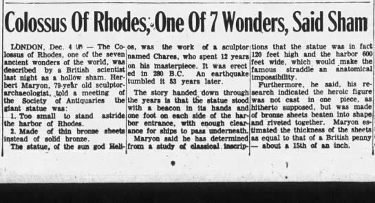 Colossus Of Rhodes, One Of 7 Wonders, Said Sham -