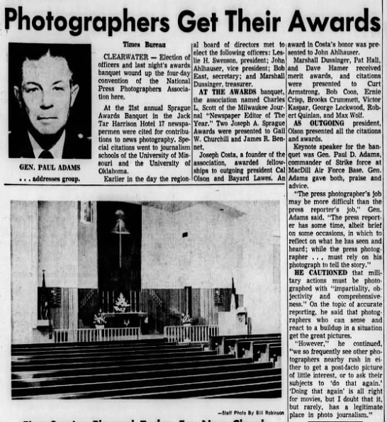 Photographers Get Their Awards, Tampa Bay Times (St. Petersburg, Florida) 26 June 1966, page 9 -
