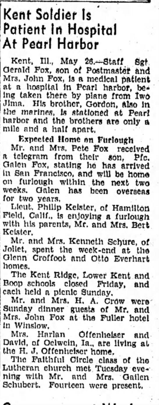 Freeport Journal-Standard, Freeport, IL - 26 May 1945, page 5. - Kent Soldier Is Patient In Hospital At Pearl...