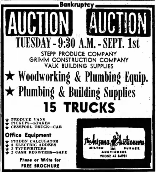 Stepp Produce Company listed in Bankruptcy Auction, Arizona Republic, 23 Aug 1959 -