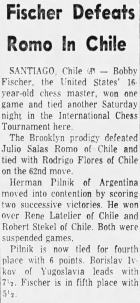 Fischer Defeats Romo In Chile -