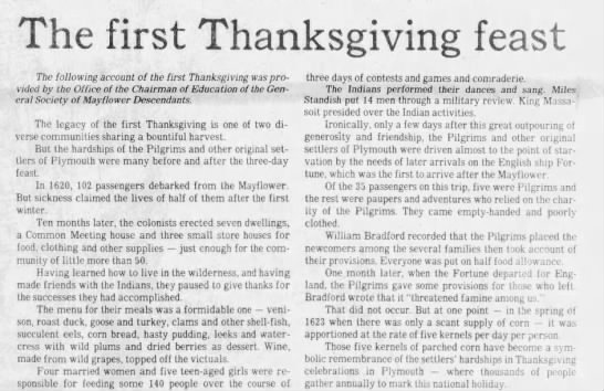 The first Thanksgiving feast - Newspapers com