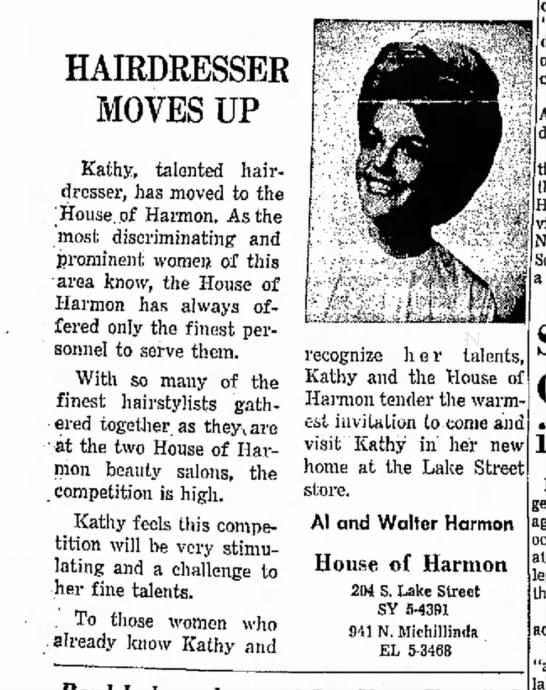 House of Harmon - HAIRDRESSER MOVES UP Kathy, talented...