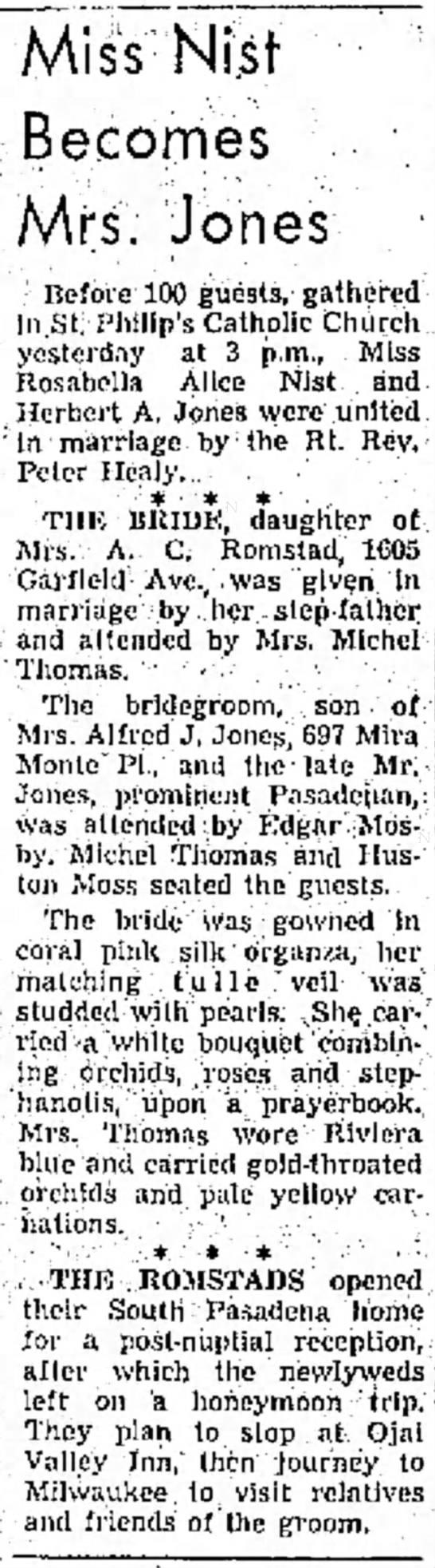 Rosabella Alice Nist wedding announcement, Independent Star-News, Pasadena, CA, June 8, 1958 -