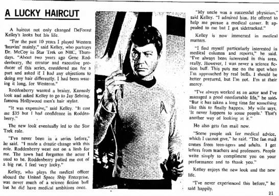 Star Trek TOS Bones interview -