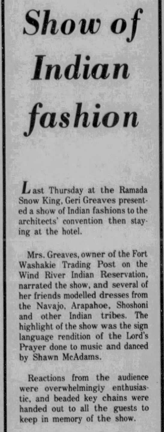 Show of Indian Fashion. The Jackson Hole News (Jackson Hole, Wyoming) 14 September 1977, p 6 -
