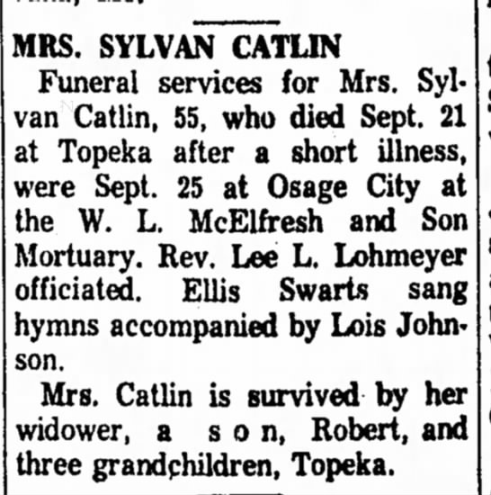 Laura Catilin obit 1961 Sept -