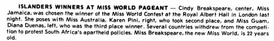 19_November_1976_Statesville_Record_Landmark_statesville, North Carolina - ISLANDERS WINNERS AT MISS WORLD PAGEANT - Cindy...