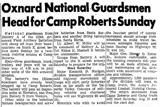 - Oxnard National Guardsmen Head for Camp Roberts...