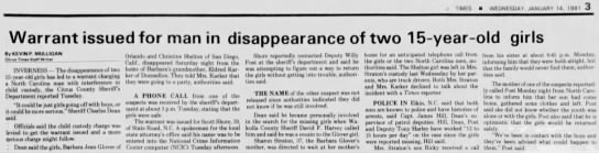 disappearance of two teenaged girls -