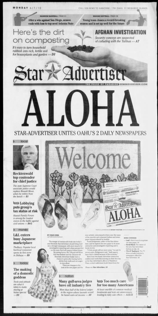 First issue of the Star-Advertiser - MONDAY 6710 CALL 538-NEWS TO SUBSCRIBE 75C...