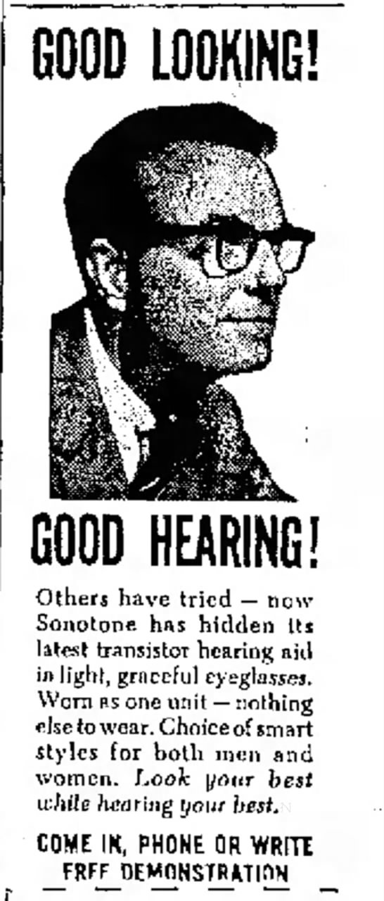 Hearing Aid Hidden in Light, Graceful Eyeglasses -