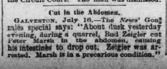 """Cut in the Abdomen . . .  During a Quarrel - Cut la the Abdomen.. Galvestox. July 16. The..."