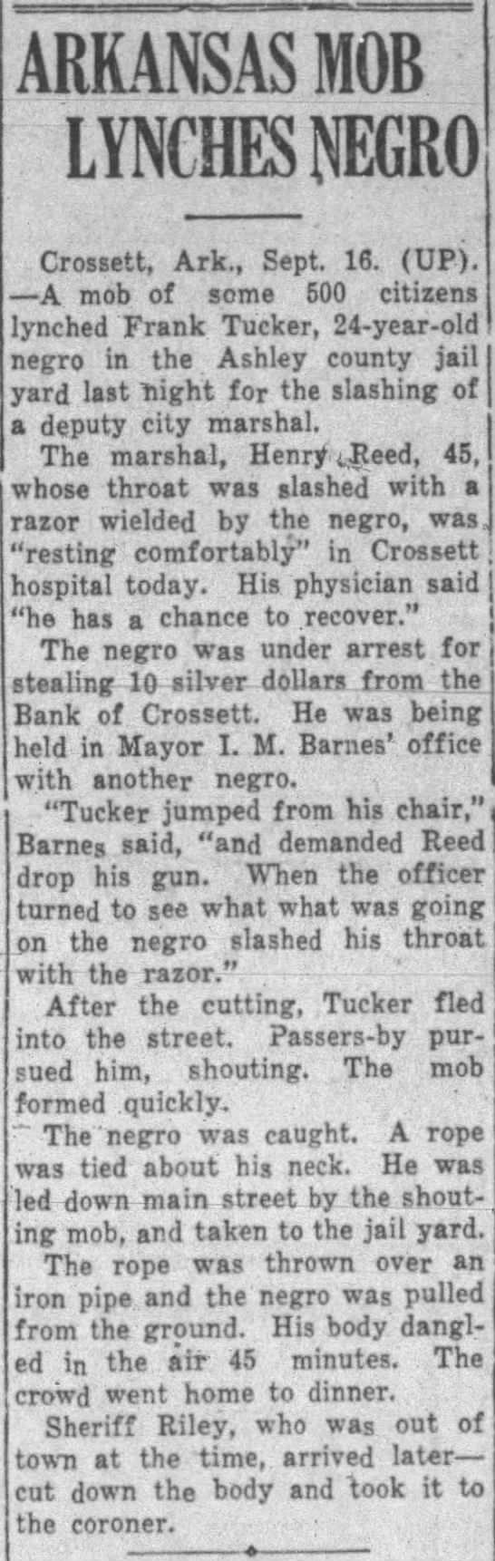 Sept 16, 1932 - Frank Tucker in Crossett -