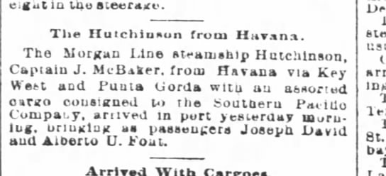 The Hutchinson from Havana - The Times-Picayune (New Orleans, LA) - 08 Jan 1889 -
