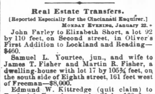 1866 Yourtee-Fisher Real Estate transfer -