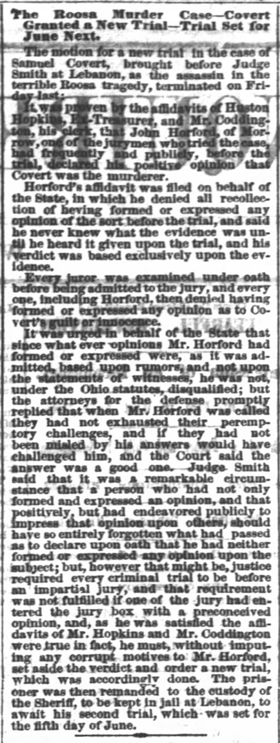 Covert gets new trial because of HarfordCincinnati Daily Enquirer8 April 1866 p.2 -