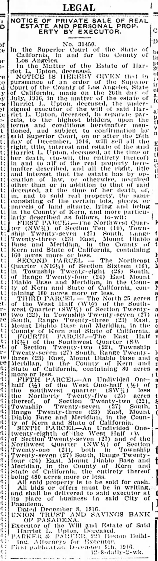 The Californian's Classified Ads December 14, 1916 No 114 Harriet L