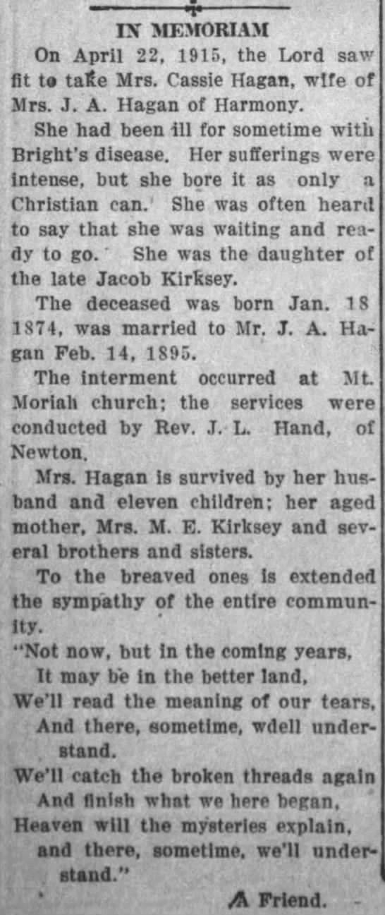 Obituary of Cassie Kirksey Hagan posted 26 May 1915 in Troy
