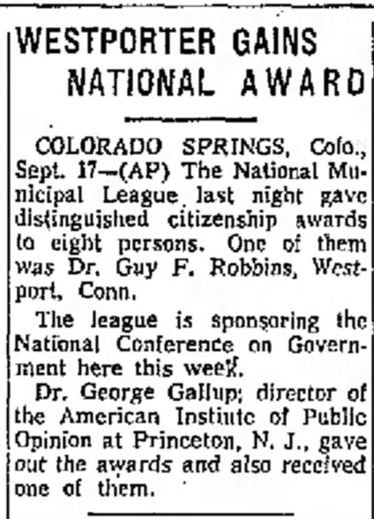 Guy F Robbins Connecticut: Receives National Award - WESTPORTER GAINS NATIONAL AWARD COLORADO...