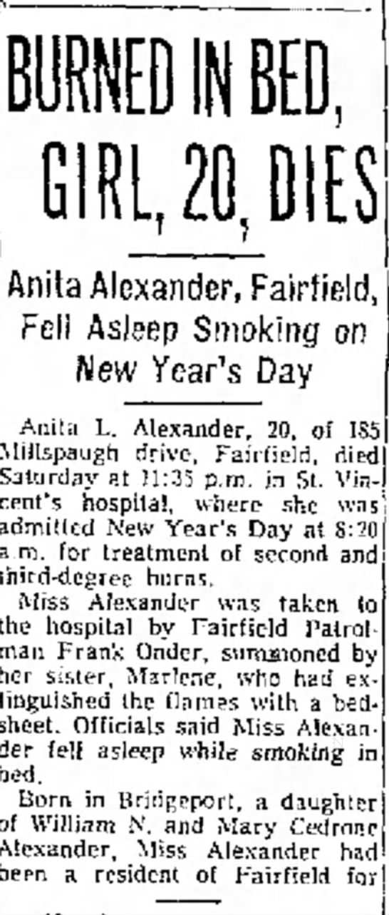 Mom's Obit Page 1 of Bridgeport Telegram Jan 8, 1962