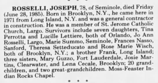 Link To Frances Nassos Father Joseph Rosselli