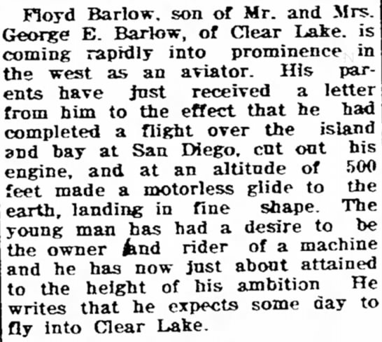 Floyd Barlow, son of Mr. and Mrs. George E. Barlow . . . . -
