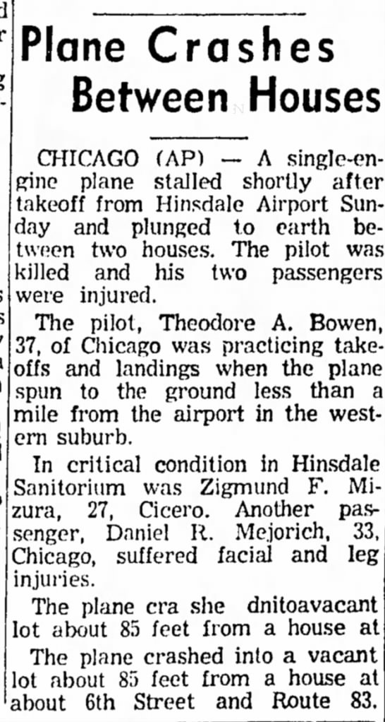plane crash 11 Apr 1960 -