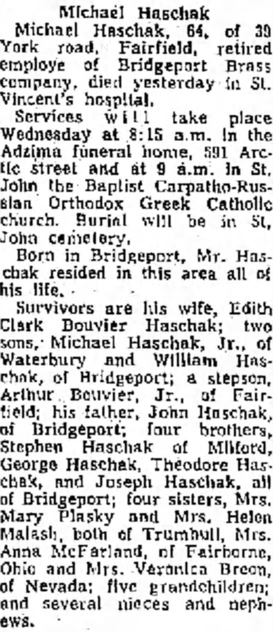 Michael Haschak obit  Monday August 9 1976 -