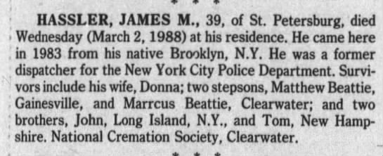 Hassler_James- obit died 2 Mar 1988 husband of Donna