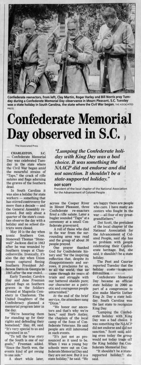 Some Southern States Celebrate Confederate Memorial Day -