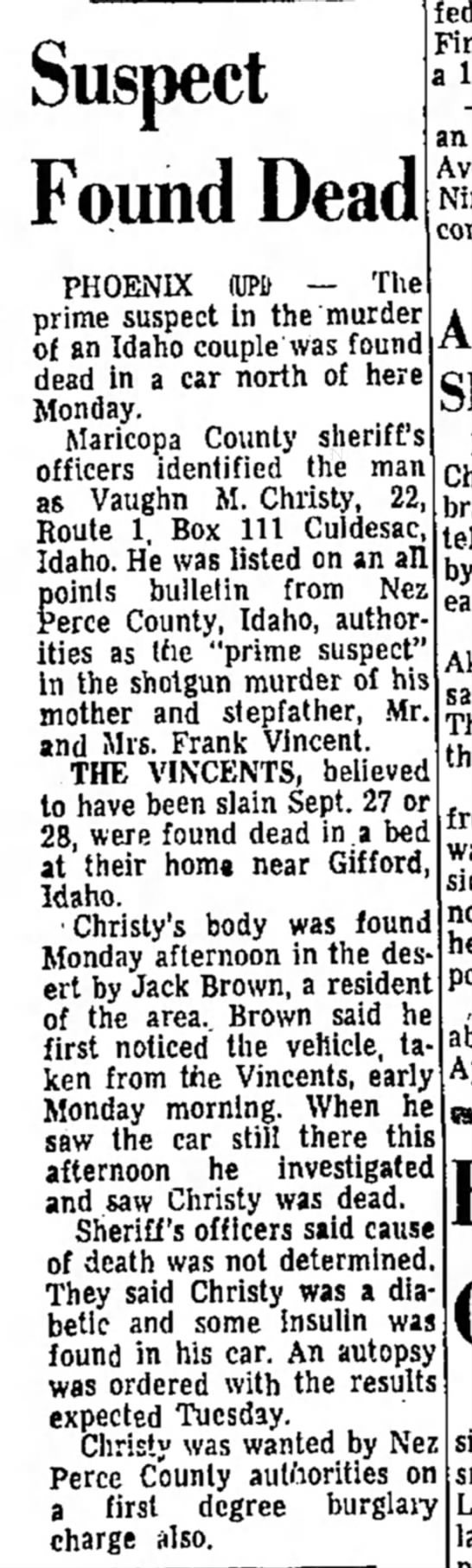Idaho Free Press, Nampa, ID, 5 Oct 1965 pg 1 col. 1 -