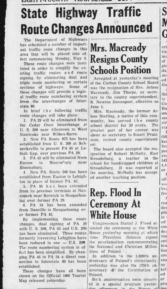 PA changes, May 5, 1966 -