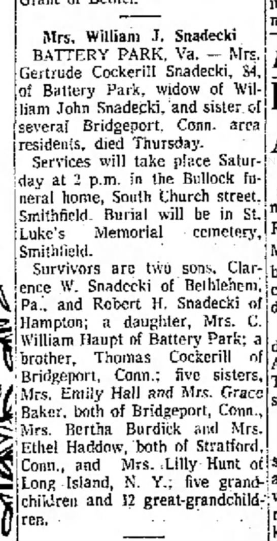 Obituary for Gertrude Cockerill Snadecki.  Died Thursday, 23 November 1967 in Battery Park, VA. -