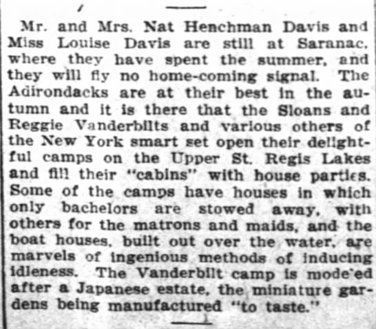 Nat. Henchman Davis II vacation Sep 1910 - Mr. and Mrs. Nat Henchman Davis and Miss Louise...