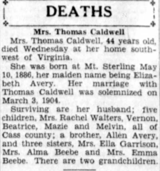 Elizabeth Avery Death -