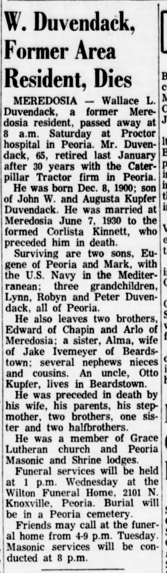 Wallace Duvendack obit, reported Dec 4 1966 -