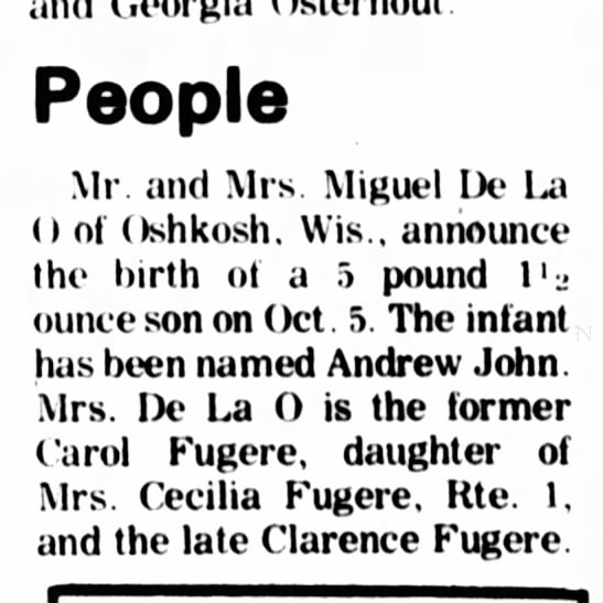 Andrew son of Carol fugere - and Georgia Osterhout. People Mr and Mrs....
