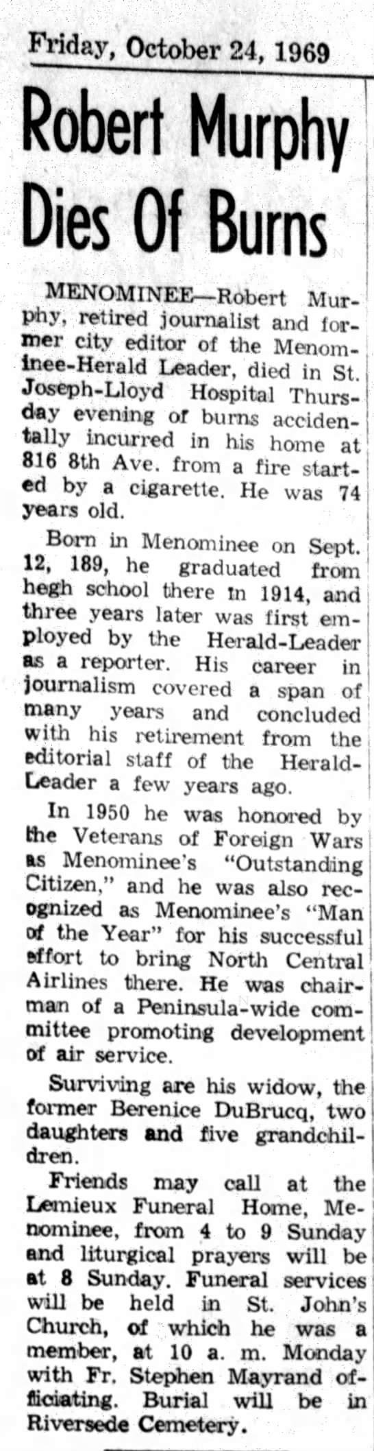 Murphy, Berniece DuBrucq Roberts obit Escanaba Daily Press Oct 1969 -