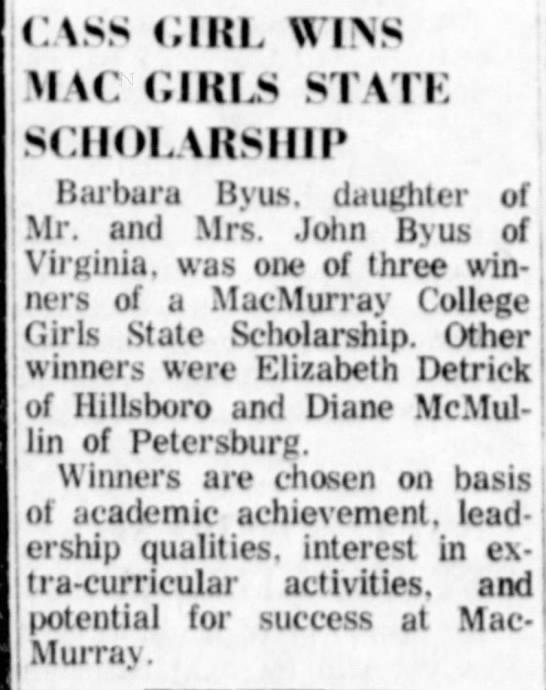 Barbara Byus scholarship to MacMurray college. 11 Sep 1968 -
