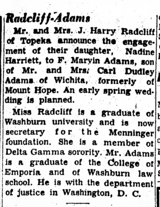 Radcliff-Adams engagement - Hadcliff-'Adantti Mr. and Mrs. J. Harry...