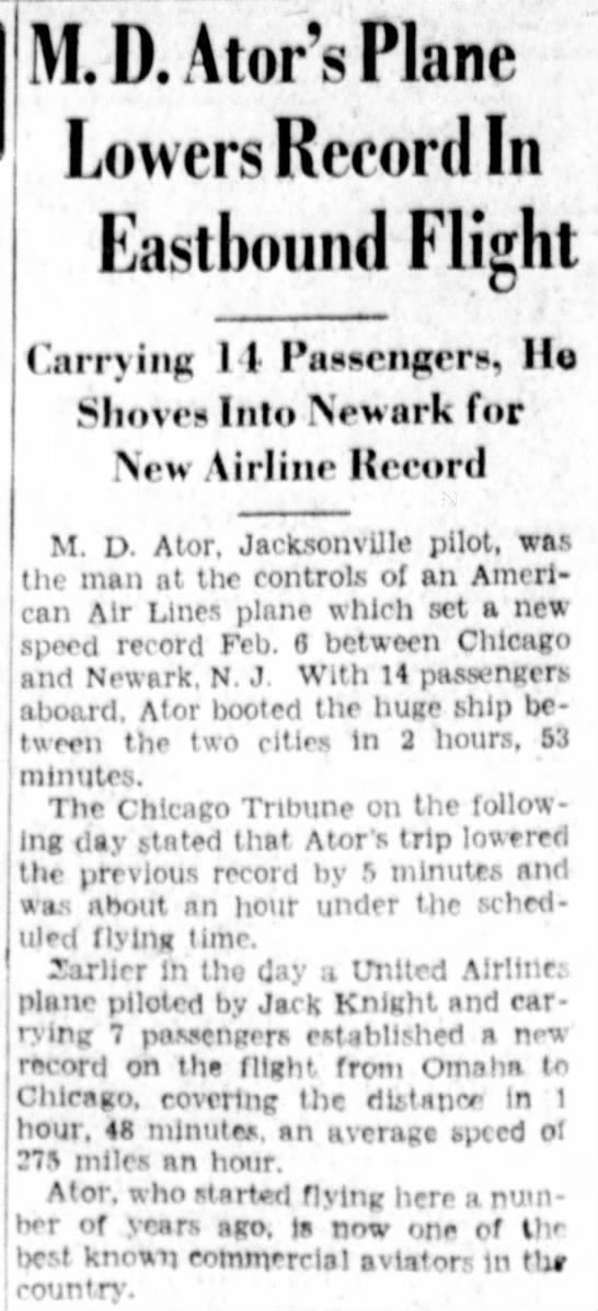 MD Ator flight record to Newark -