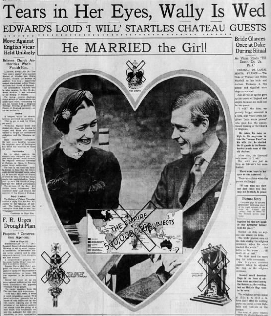 Announcement of Edward, Duke of Windsor, and Wallis Simpson's wedding - Wally ears in i EDWARD'S LOUD 1 WILL' STARTLES...