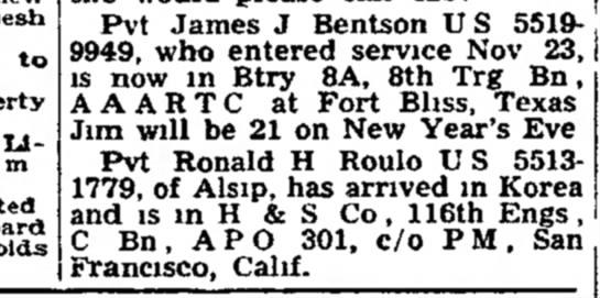 - Pvt James J Bentson U S 5519-9949, who entered...